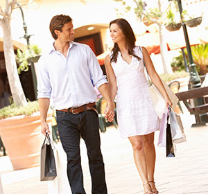 Couple at shopping center
