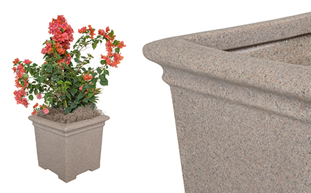 Square Footed Planter: Sandstone Granite