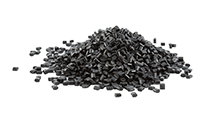 black plastic polymer granules for 100% recycled planters (menu)