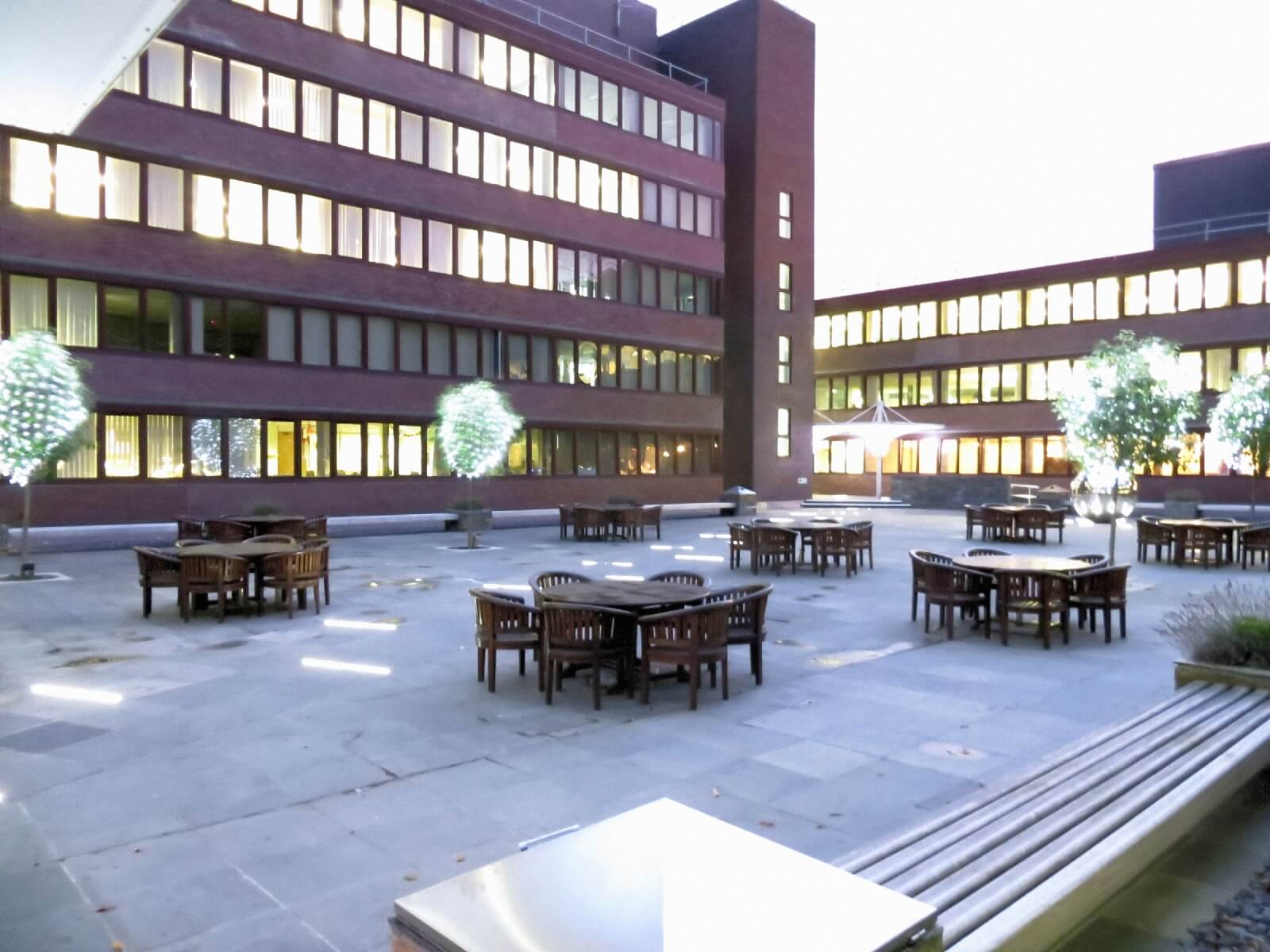 office court yard with furniture