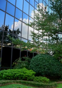 Building with Reflection and beautiful landscaping.