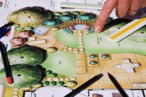 Landscape Architect showing design of elaborate backyard design.